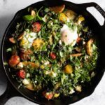 breakfast skillet with herbs, from overhead