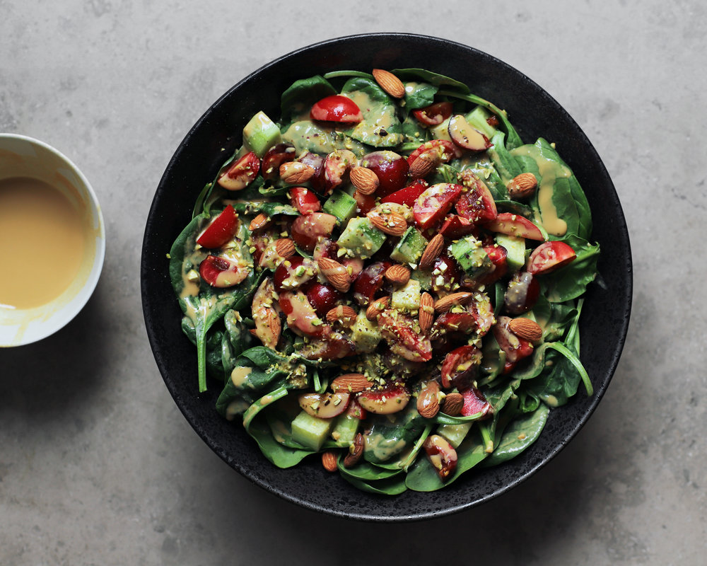 tahini date salad dressing / summer salad