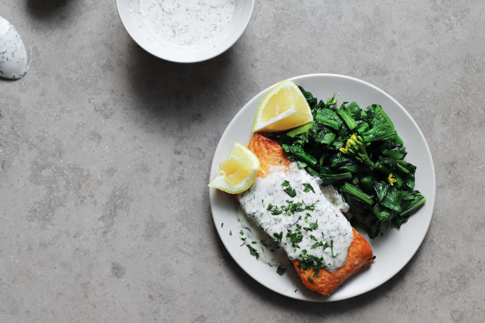 salmon with herby tahini yogurt sauce