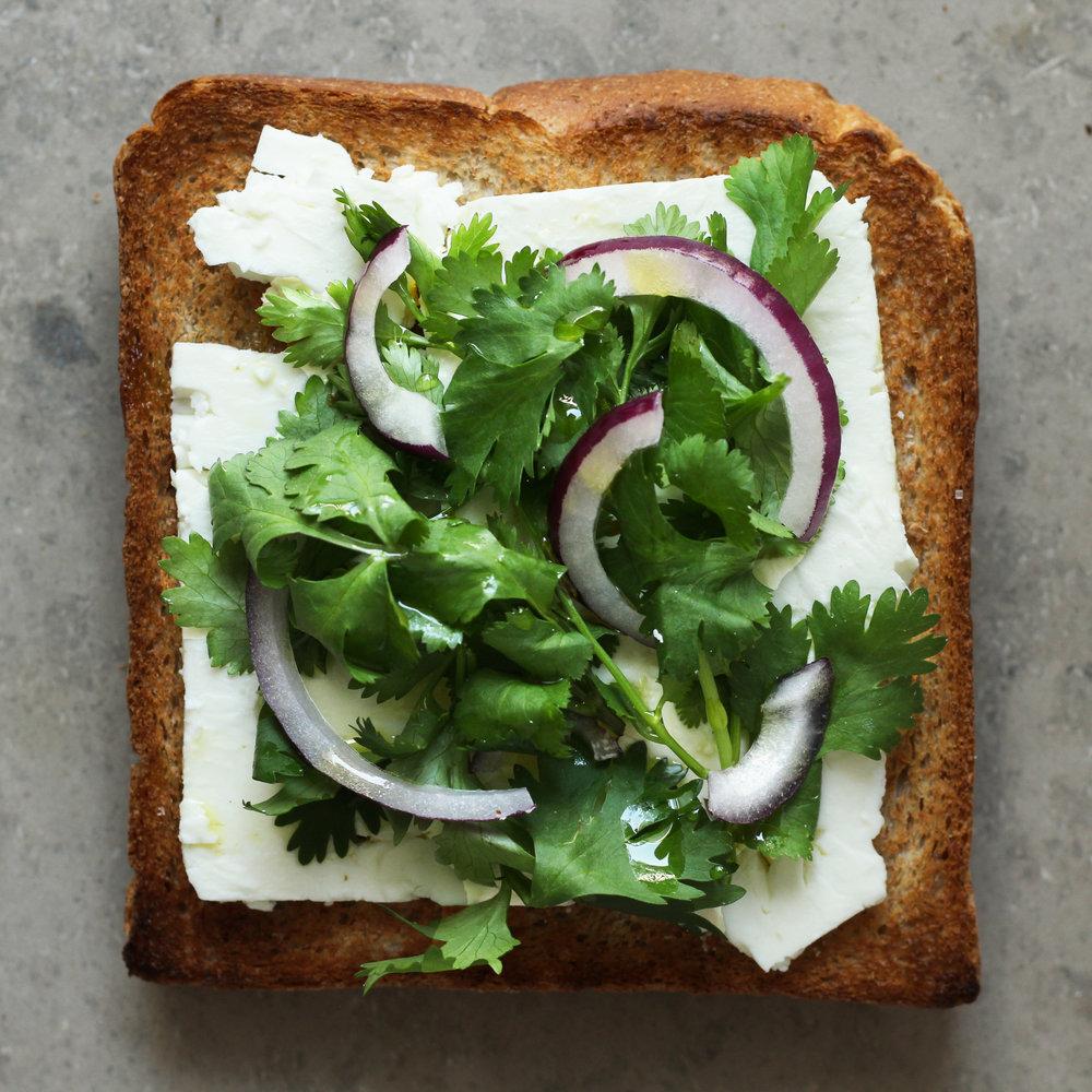 cilantro feta toast