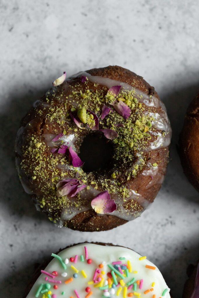 a persian love cake donut photographed from above