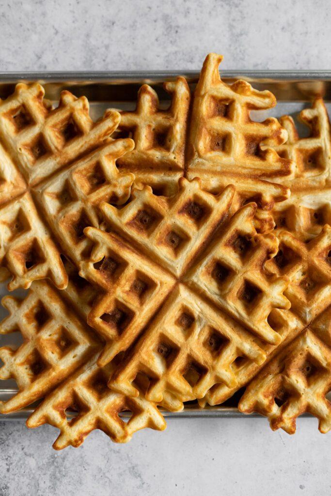 a tray of waffles